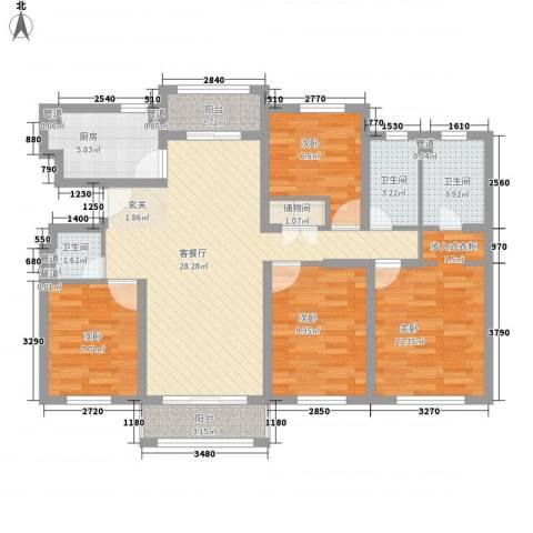 嘉亨湾4室1厅3卫1厨125.00㎡户型图