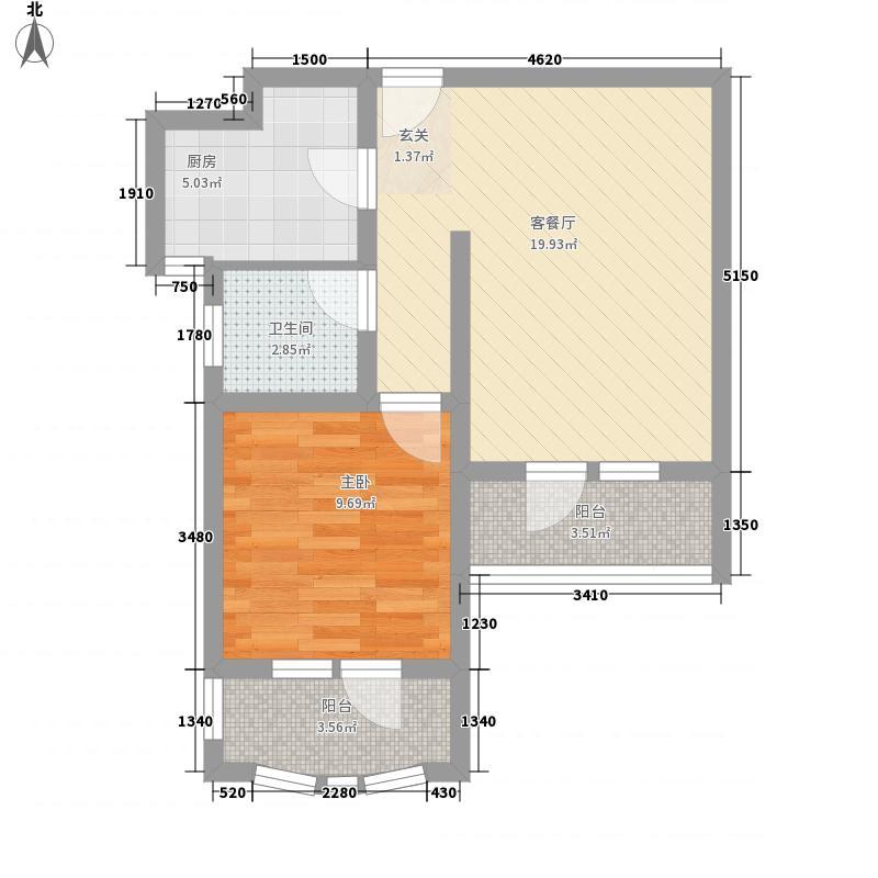 滨海公馆64.62㎡BMN座B户型1室2厅1卫1厨