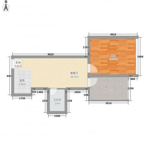 金东国际1室1厅1卫0厨58.00㎡户型图