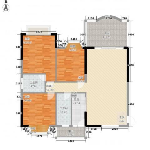 汇景中央3室1厅2卫1厨133.00㎡户型图
