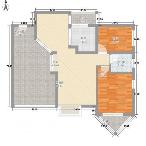 华南碧桂园景翠苑2室1厅1卫1厨114.00㎡户型图