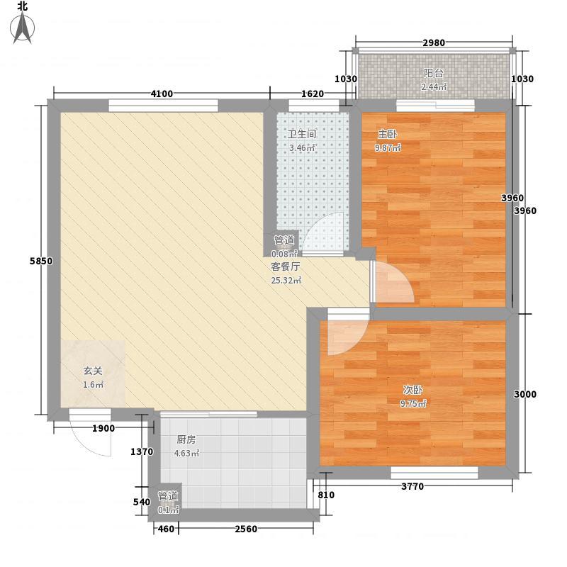 东兴寓城花园8-J(已售完)户型2室1厅1卫