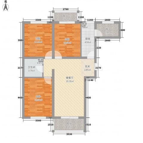 财富时代3室1厅1卫1厨115.00㎡户型图