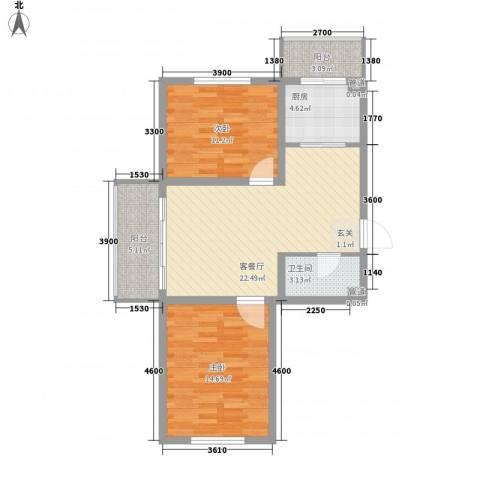 华亨名城2室1厅1卫1厨82.00㎡户型图