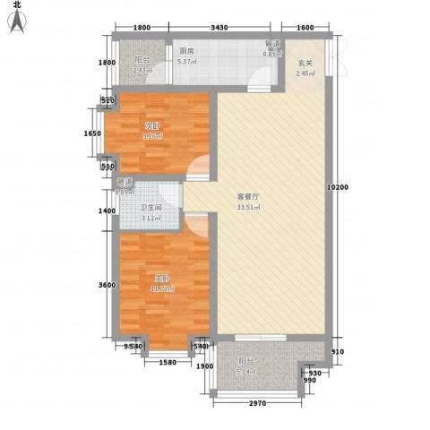 八佳花园2室1厅1卫1厨70.63㎡户型图