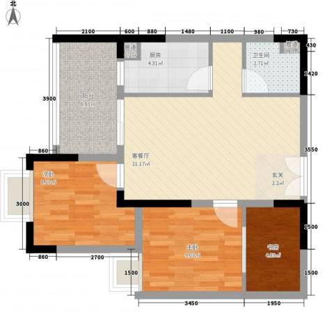 东鑫园3室1厅1卫1厨83.00㎡户型图