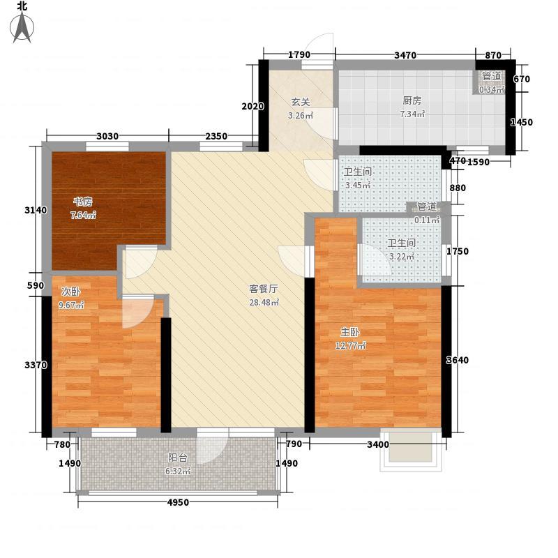 招商公园187216.20㎡A4地块1-8号楼B户型3室2厅2卫1厨