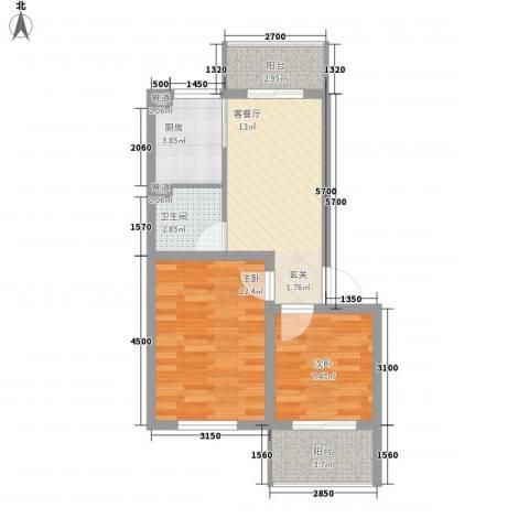 华亨名城2室1厅1卫1厨64.00㎡户型图