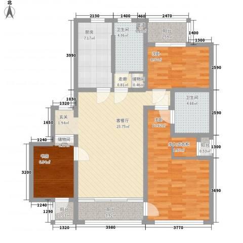 裕沁湖畔庭3室1厅2卫1厨125.00㎡户型图