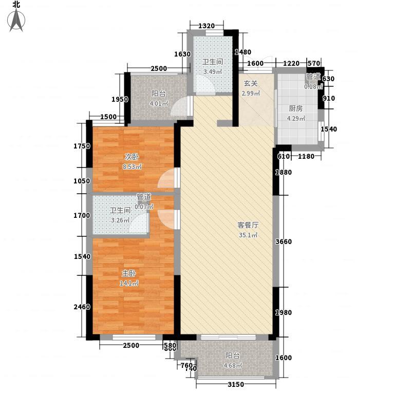 佳源巴黎都市2室1厅2卫1厨111.00㎡户型图