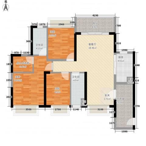 海伦堡爱ME城市3室1厅2卫1厨132.00㎡户型图