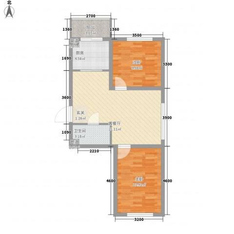 华亨名城2室1厅1卫1厨72.00㎡户型图