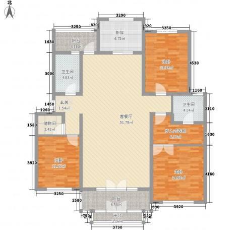 电视机厂宿舍楼3室1厅2卫1厨184.00㎡户型图