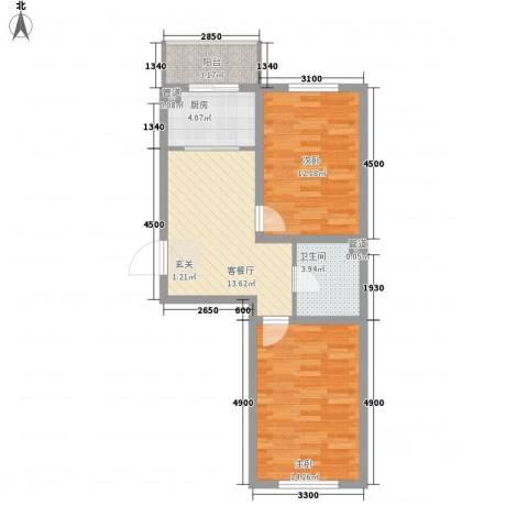 华亨名城2室1厅1卫1厨69.00㎡户型图