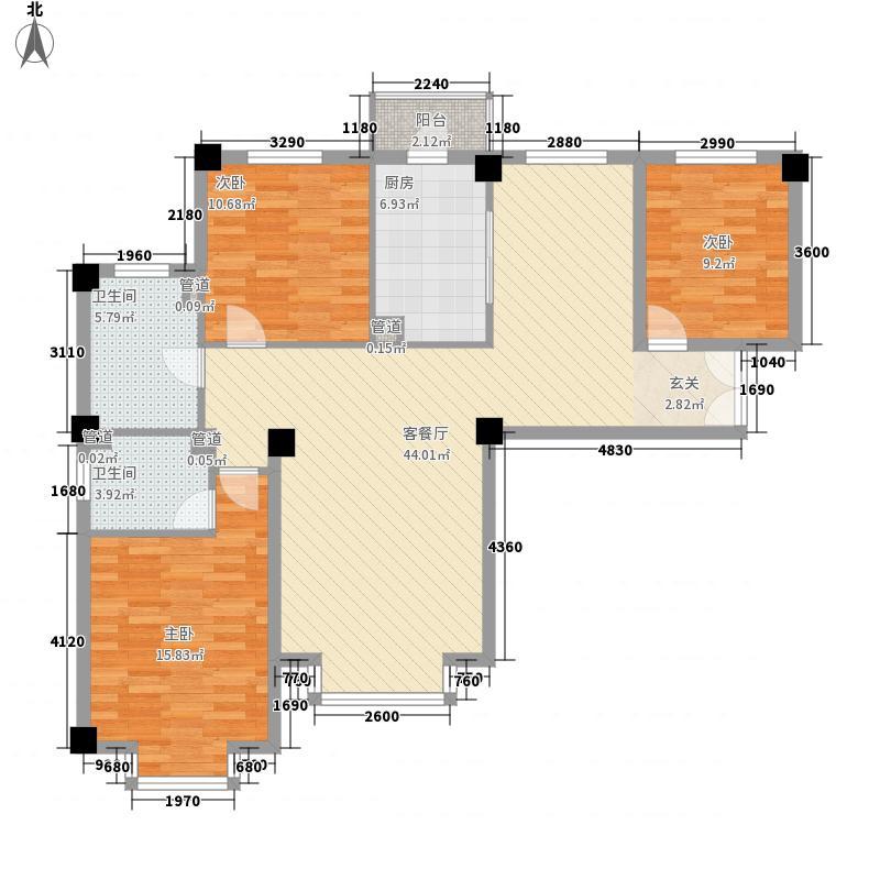 金海天花园户型二户型3室2厅2卫1厨