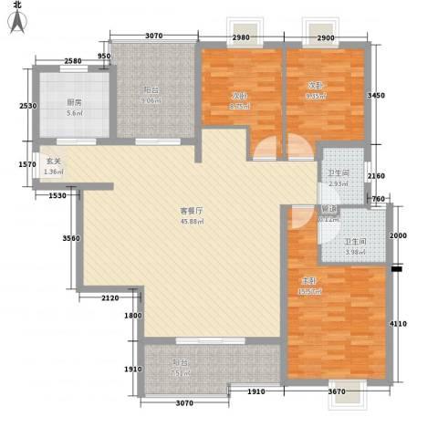 国信世家3室1厅2卫1厨153.00㎡户型图
