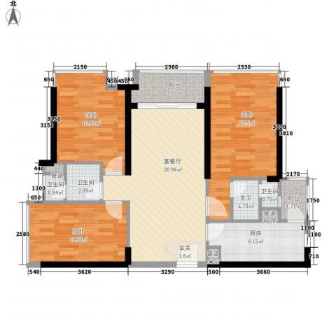 海伦湾3室1厅3卫1厨98.00㎡户型图