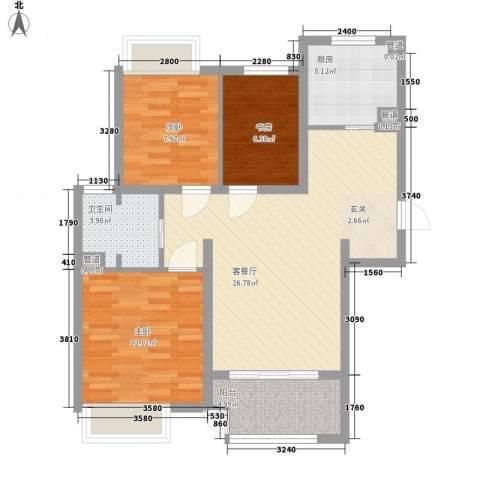 新城香溢紫郡3室1厅1卫1厨78.00㎡户型图