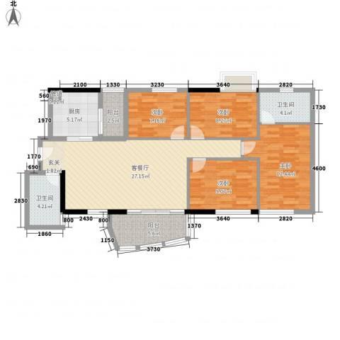富力现代广场4室1厅2卫1厨123.00㎡户型图