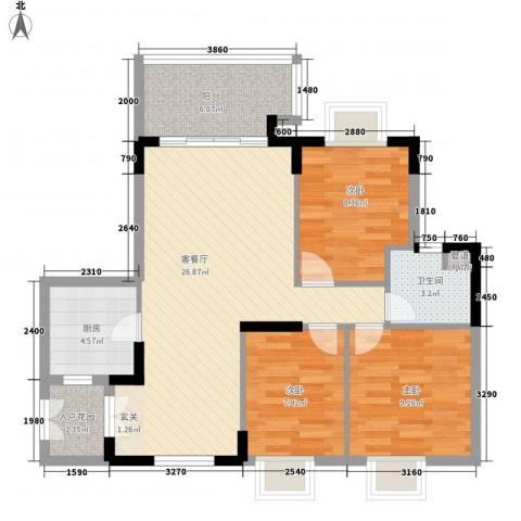 岭南公馆3室1厅1卫1厨98.00㎡户型图