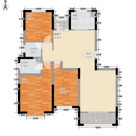 金厦龙第新城3室1厅2卫1厨135.00㎡户型图