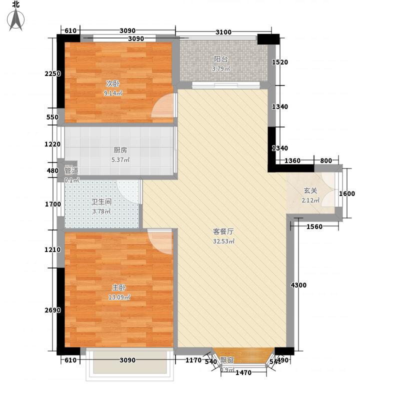 汇景中央83.30㎡C2栋A户型2室2厅1卫1厨