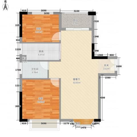 汇景中央2室1厅1卫1厨83.00㎡户型图