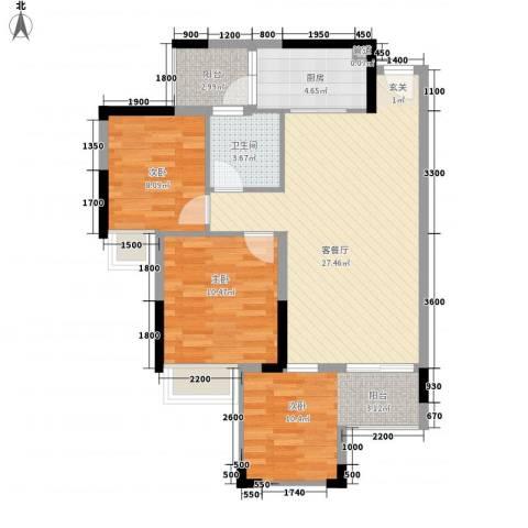 汇景中央3室1厅1卫1厨86.00㎡户型图