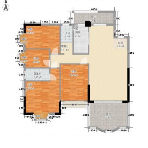 汇景中央4室1厅2卫1厨142.00㎡户型图