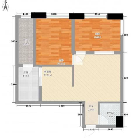 滨东康城二期2室1厅1卫1厨72.00㎡户型图