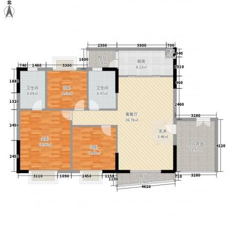 利澳花园3室1厅2卫1厨136.00㎡户型图