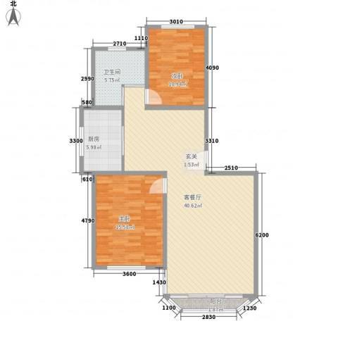 鹿鸣苑2室1厅1卫1厨112.00㎡户型图