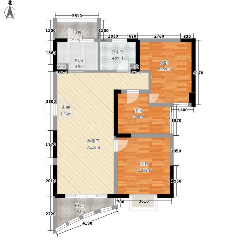 碧桂园十里银滩海景洋房2号楼F2户型3室2厅1卫1厨