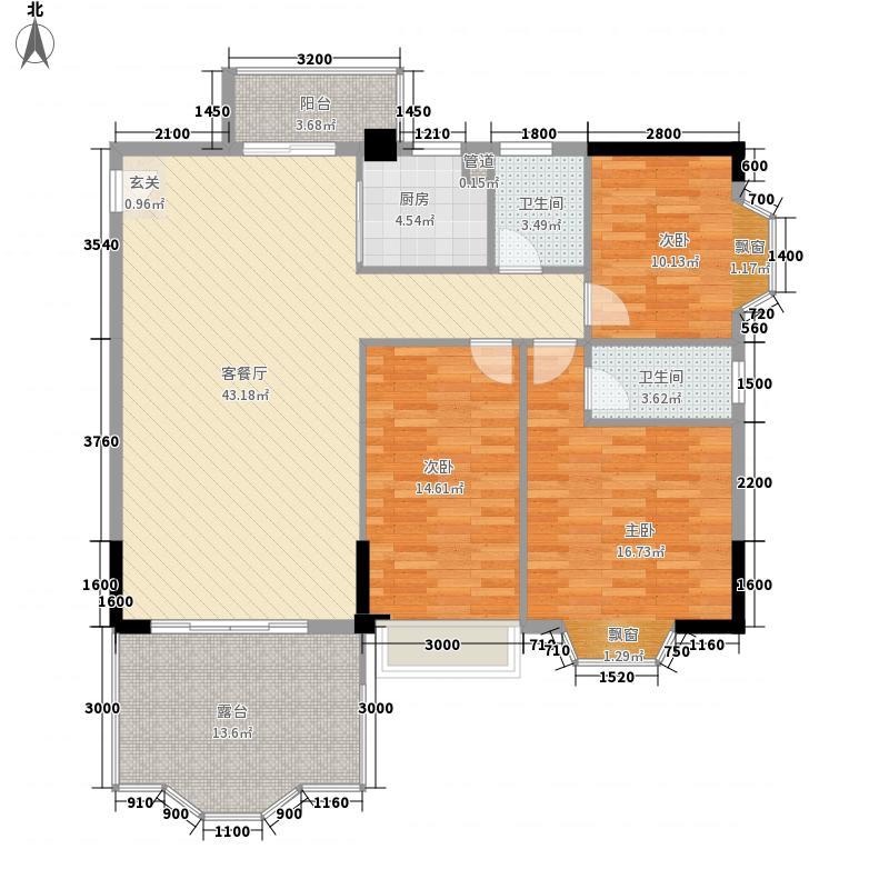 汇景中央131.33㎡B1栋01单元B2栋03单元户型3室3厅3卫1厨