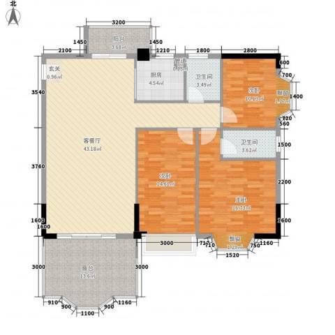 汇景中央3室1厅2卫1厨131.00㎡户型图