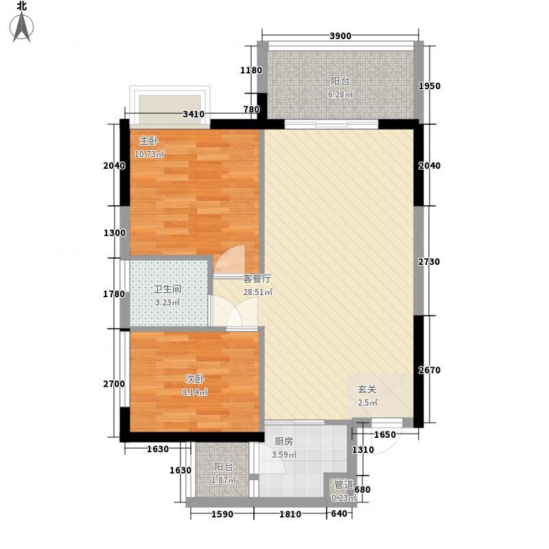 华邦・首府77.18㎡一期2/8栋A1户型2室2厅1卫1厨