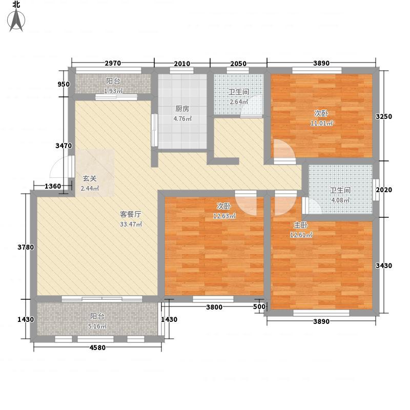 达信国际128.00㎡E1户型3室2厅2卫