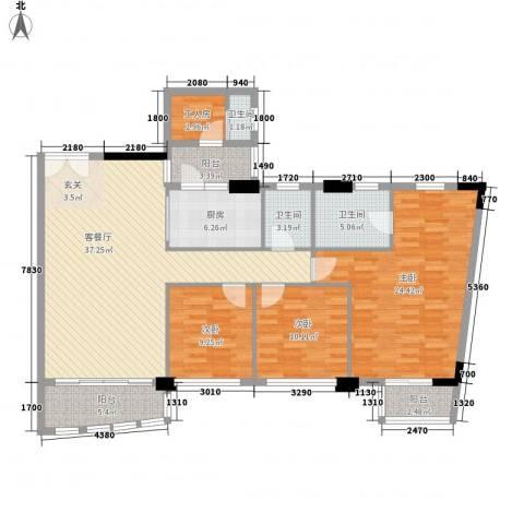 利澳花园3室1厅3卫1厨187.00㎡户型图