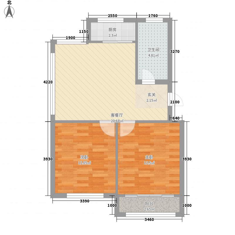 凤海新城77.00㎡B户型2室1厅1卫1厨