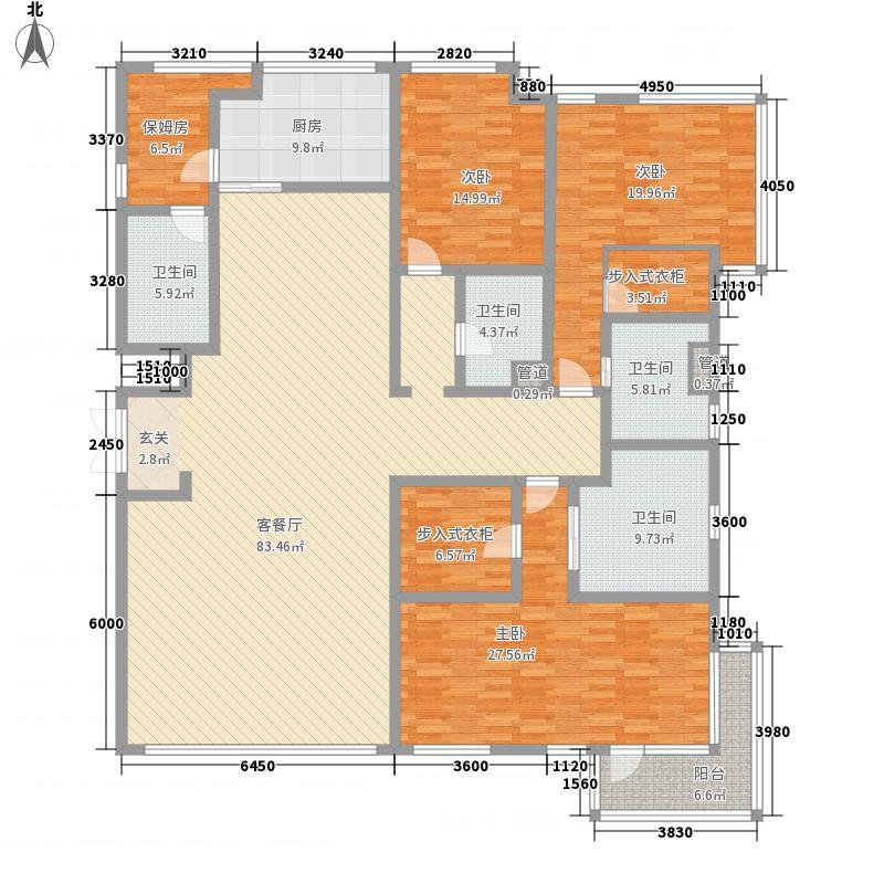 琥珀湾265.00㎡15#楼洋房B户型4室2厅4卫1厨