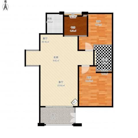 绿地香树花城3室1厅1卫1厨93.00㎡户型图