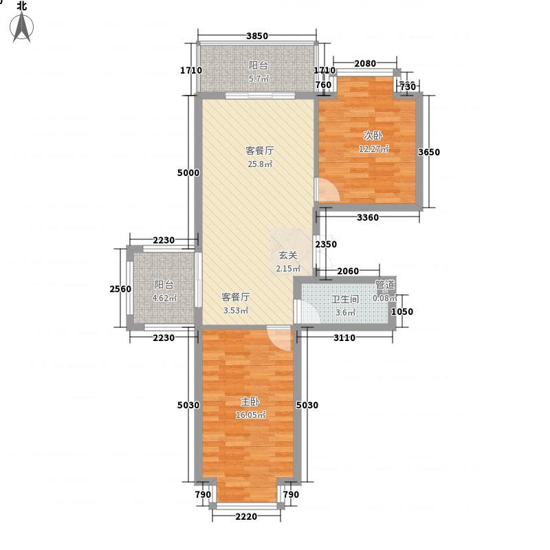恒祥城65.46㎡8、9、15号楼(售罄)户型2室1厅1卫1厨