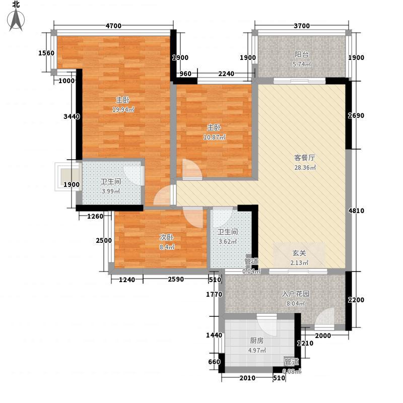 雅居乐小院流溪116.00㎡二期洋房户型
