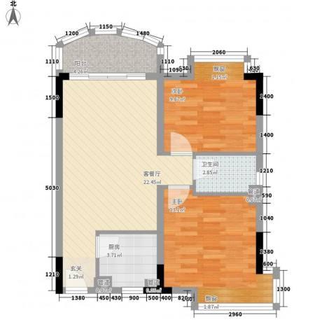 诚德中心2室1厅1卫1厨81.00㎡户型图