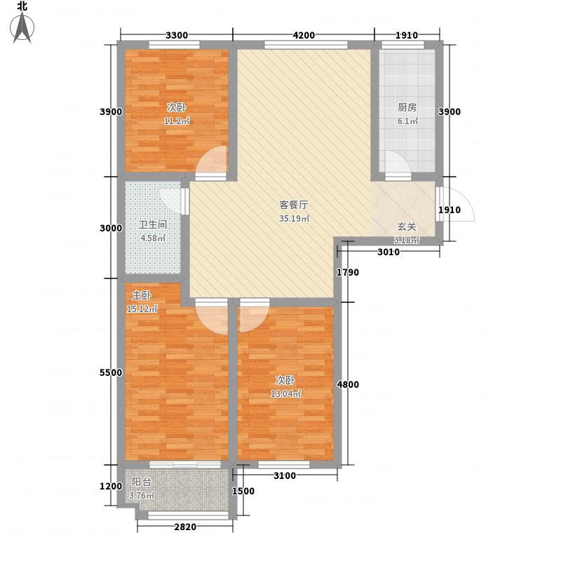 东城花苑113.00㎡3期3#7#J户型3室2厅1卫1厨