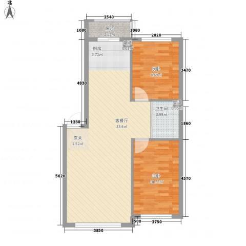万龙北斗星城2室1厅1卫0厨82.00㎡户型图