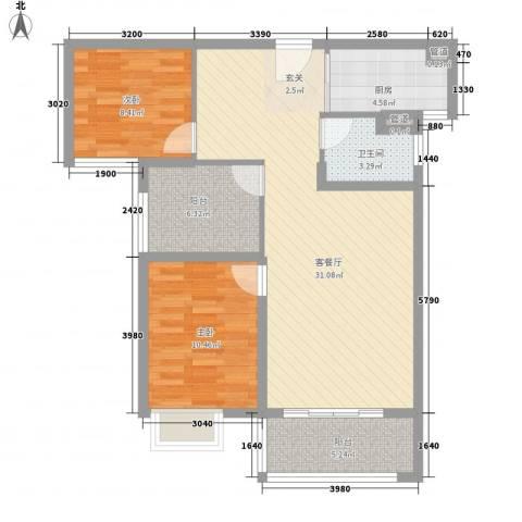 公园道1号2室1厅1卫1厨88.00㎡户型图