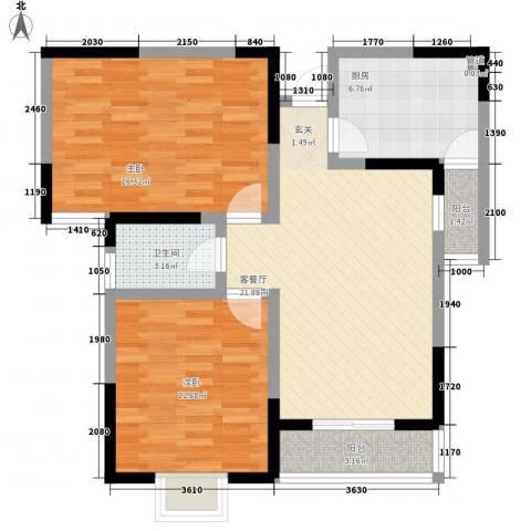 利港银河新城2室1厅1卫1厨84.00㎡户型图