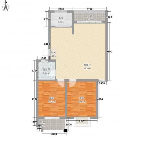 稼悦小区园中园2室1厅1卫1厨106.00㎡户型图