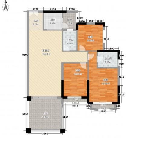 怡翠玫瑰园3室1厅2卫1厨139.00㎡户型图